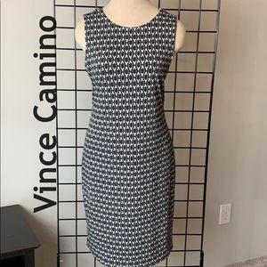 Vince Camuto Black Print Sheath Dress EC